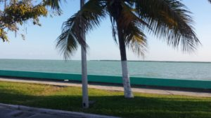 Chetumal boardwalk photo looking out over the water.
