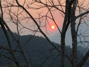 Hazy smokey sunrise