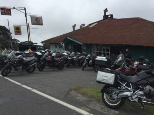 Tons of bikes here at this restaurant on the way up to the volcano.